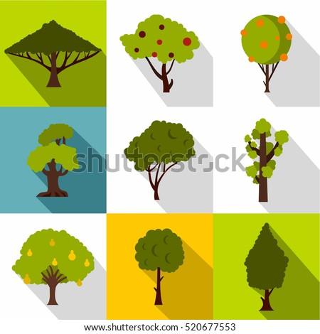 types of trees icons set flat
