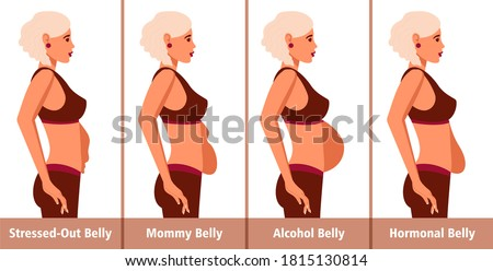 Types of Tummies for women. Post-pregnancy, menopausal hormonal belly, beer belly, bloating belly and overweight.