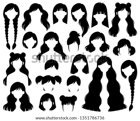 Types of Women's Hairstyles: Beehive, Bob, Braided, Bun, Half Up Half Down, Highlights, Layers, Pixie, Ponytail, Bangs, Tousled, Upstyle Silhouette Vector Set