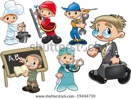Types of Workers. Funny cartoon and vector isolated characters