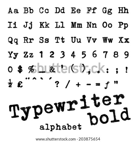 Typewriter alphabet set. Vector illustration.