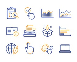Typewriter, Hand click and Checkbox icons simple set. Accounting report, Customer satisfaction and Environment day signs. Creative idea, Copyright and Trade infochart symbols. Line typewriter icon