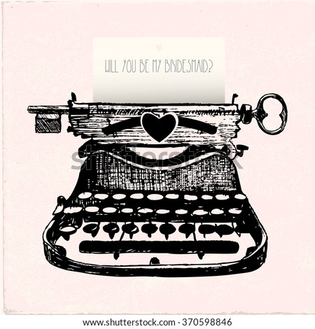 typewriter hand drawing with