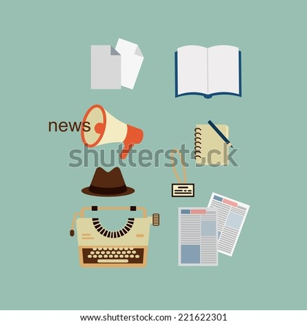 typewriter, hat, sheets of paper, a notebook, a newspaper journalist illustration