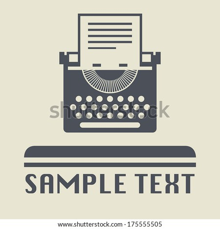 Typewriter icon or sign, vector illustration - stock vector