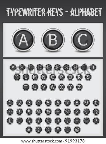 typewriter keys alphabet black