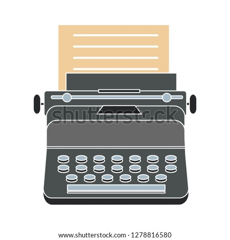 typewriter machine icon -vintage  icon illustration. typewriter sign symbol - journalist writing symbol- keyboard illustration - journalist equipment sign - antique equipment sign