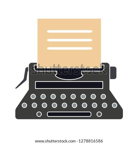 typewriter machine icon -vintage  icon illustration. typewriter sign symbol - secretary writing symbol- keyboard illustration - secretary equipment sign - antique equipment sign