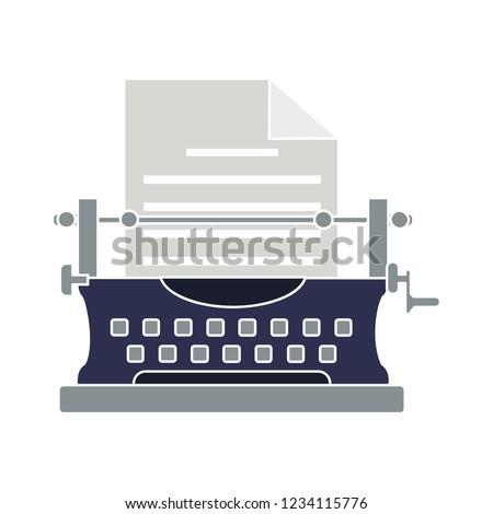 typewriter machine isolated vector - typewriter keyboard illustration sign . technology writing sign symbol