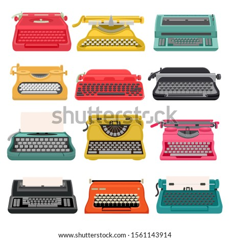 Typewriter vector old vintage keyboard machine, retro mechanical type-writer for writing and typing. Illustration set of antique print seccretary object design isolated on white background.