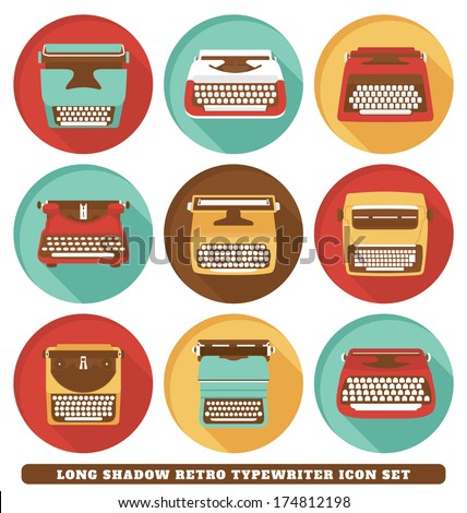 Typewriters - Long Shadow Retro Icon Set