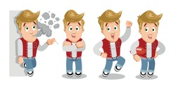 Typical day highlights of blond joker young man in red vest and jeans. Caucasian strong teenager smoking near wall, jumping for joy, keeping rugby ball, standing crossing arms on breast. Vector set.