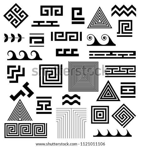 Typical egyptian, assyrian and greek motives vector symbols set. Greek key. Arabic geometric islamic art. Abstract geometric. Vector and illustration.