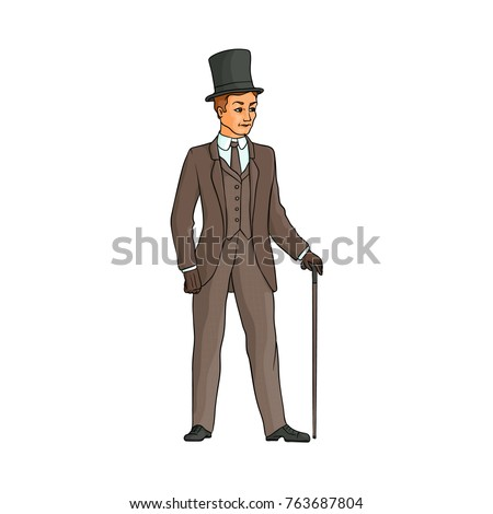 Typical English gentleman in three-piece suit and tall hat, walking with a cane, hand drawn vector illustration isolated on white background. Full length portrait of typical retro English gentleman