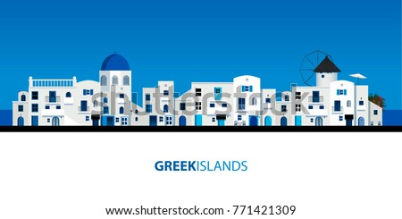 Typical Greek island houses. Blue sky and sea on the background