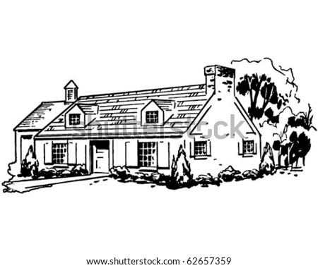 typical house   retro clipart...