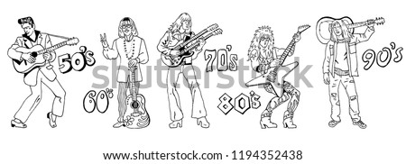 Typical 20th century guitarists. Music styles history: 50s rock'n'roll, 60s hippie, 70s progressive rock, 80s glam metal, 90s grunge. Hand drawn sketchy illustration. Line art isolated black on white. #1194352438