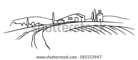 Typical Tuscany landscape vector sketch field and farm
