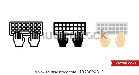 Typing icon of 3 types: color, black and white, outline. Isolated vector sign symbol.