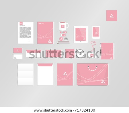 Typographic A logo. Corporate identity template set. Business stationery mock-up #717324130
