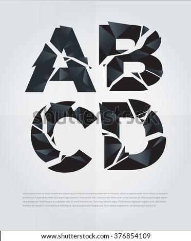 typographic broken alphabet in