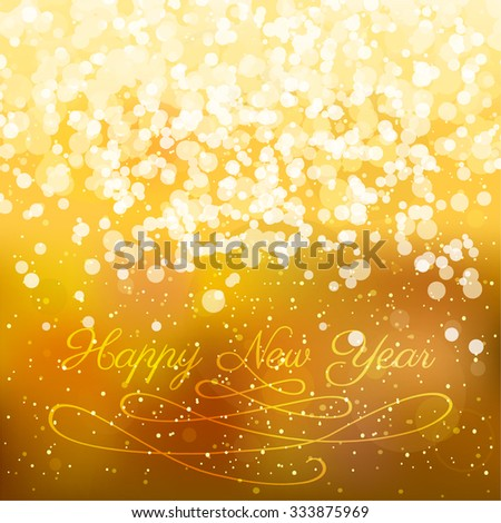 Typographic design on a blurred abstract background with golden lights. EPS10 file. Gradient mesh and transparency effects used. #333875969