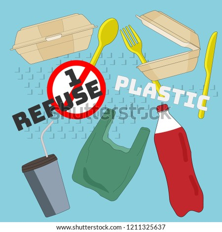 Typographic design with outline flat symbols of single-use plastic product. Refuse single-use plastic concept. Vector illustration.