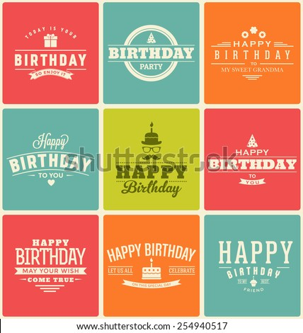 typographic happy birthday