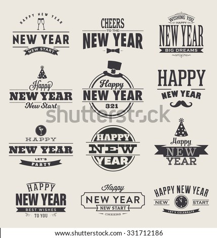 Typographic Happy New Year  2016 Design Set - Trendy Vintage Style Collection