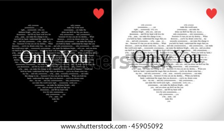 typographic hearts with only