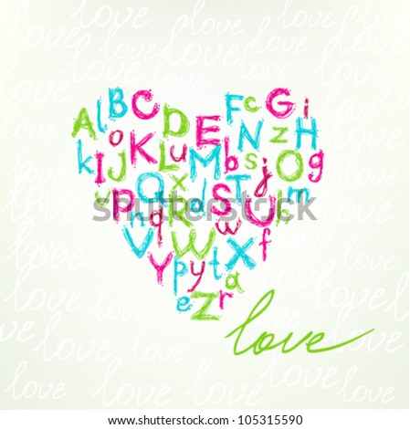 Typographic illustration with colorful decorative heart with hand drawn alphabet. Template for design and decoration greeting cards, wrapping, scrapbooking, covers. Scribble comic cute font.