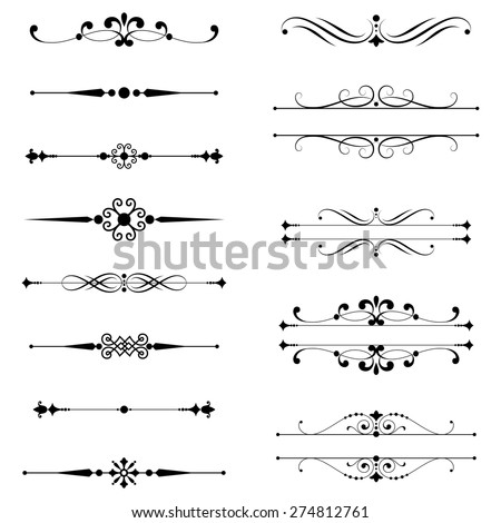 Typographic Ornaments & Rule Lines - Set of vector text dividers.  Each element is grouped for easy editing.