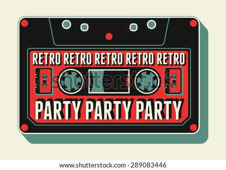 typographic retro party poster