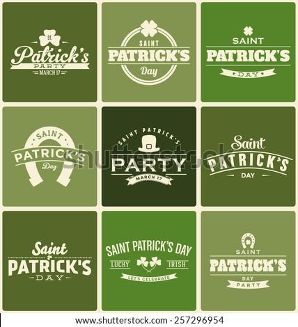 Typographic Saint Patrick's Day Themed Label Design Set
