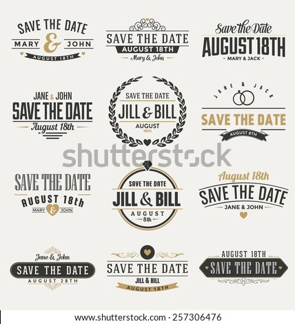Typographic Save The Date Themed Label Design Set
