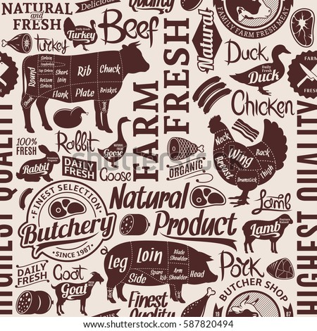 Typographic vector butchery seamless pattern or background. Farm animals icons and butcher shop design elements for groceries, meat stores, packaging and advertising