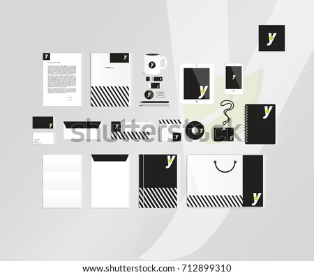 Typographic Y logo. Corporate identity template set. Business stationery mock-up #712899310