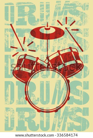 typographical drums vintage...
