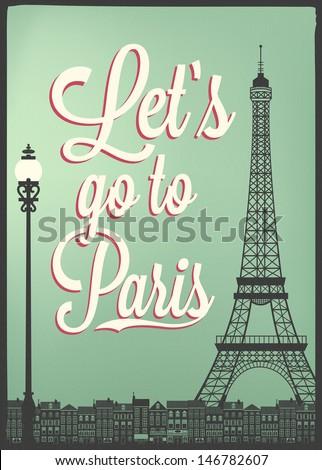 Typographical Retro Style Poster With Paris Symbols And Landmarks stock photo