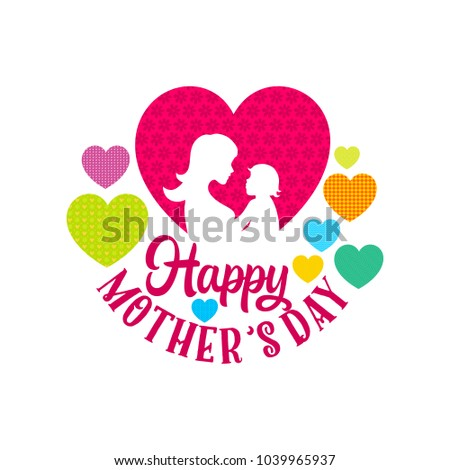 Typography and lettering with design elements and silhouettes for a happy mother's day #1039965937