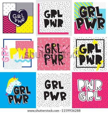 typography colorful slogan girl