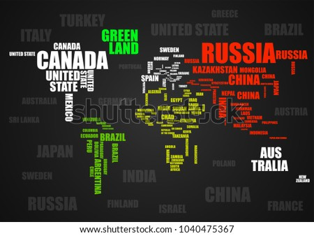 Bright world word map download free vector art stock graphics typography colorful world map with country names vector gumiabroncs Images