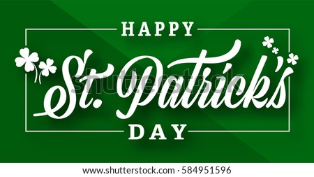 Typography composition of St. Patrick's Day with lucky clover on green background. Vector illustrator design template.