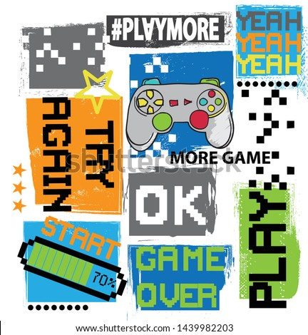 Typography Game pixel print. Game illustration. boys background  For print, baby clothes, t shirt, child or posters