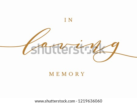 Typography gold on white wedding sign text graphic vector for in loving memory