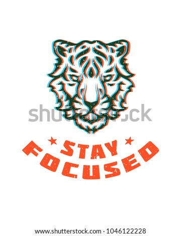 Typography graphic tee print vector illustration. T shirt design with stay focused slogan and tiger head silhouette.