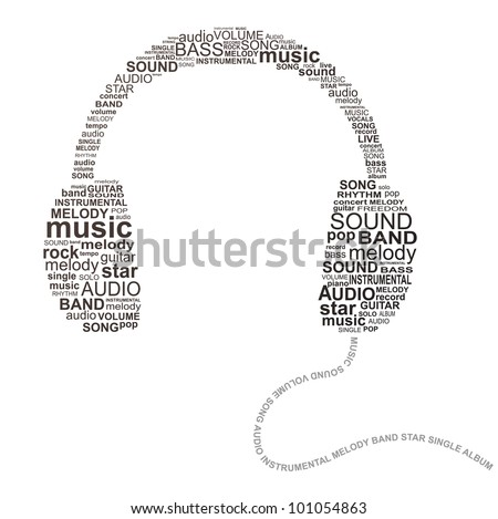 typography headphones   music