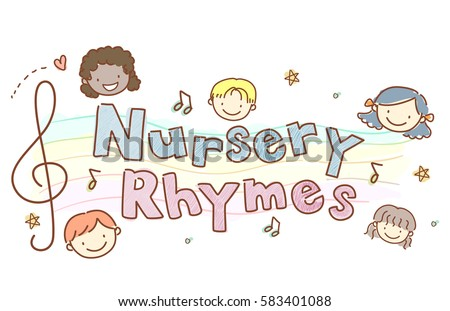 Typography Illustration Featuring Stickman Kids Surrounding the Words Nursery Rhymes Stock photo ©