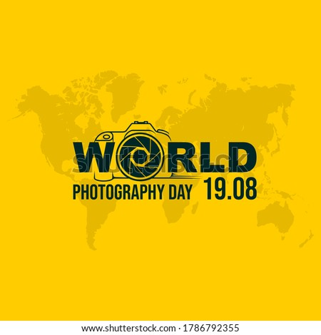 Typography Logo of World Photography Day vector illustration. Good template for Photography design.