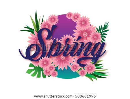Typography of spring flowers season greeting card design template. vector illustration background.
